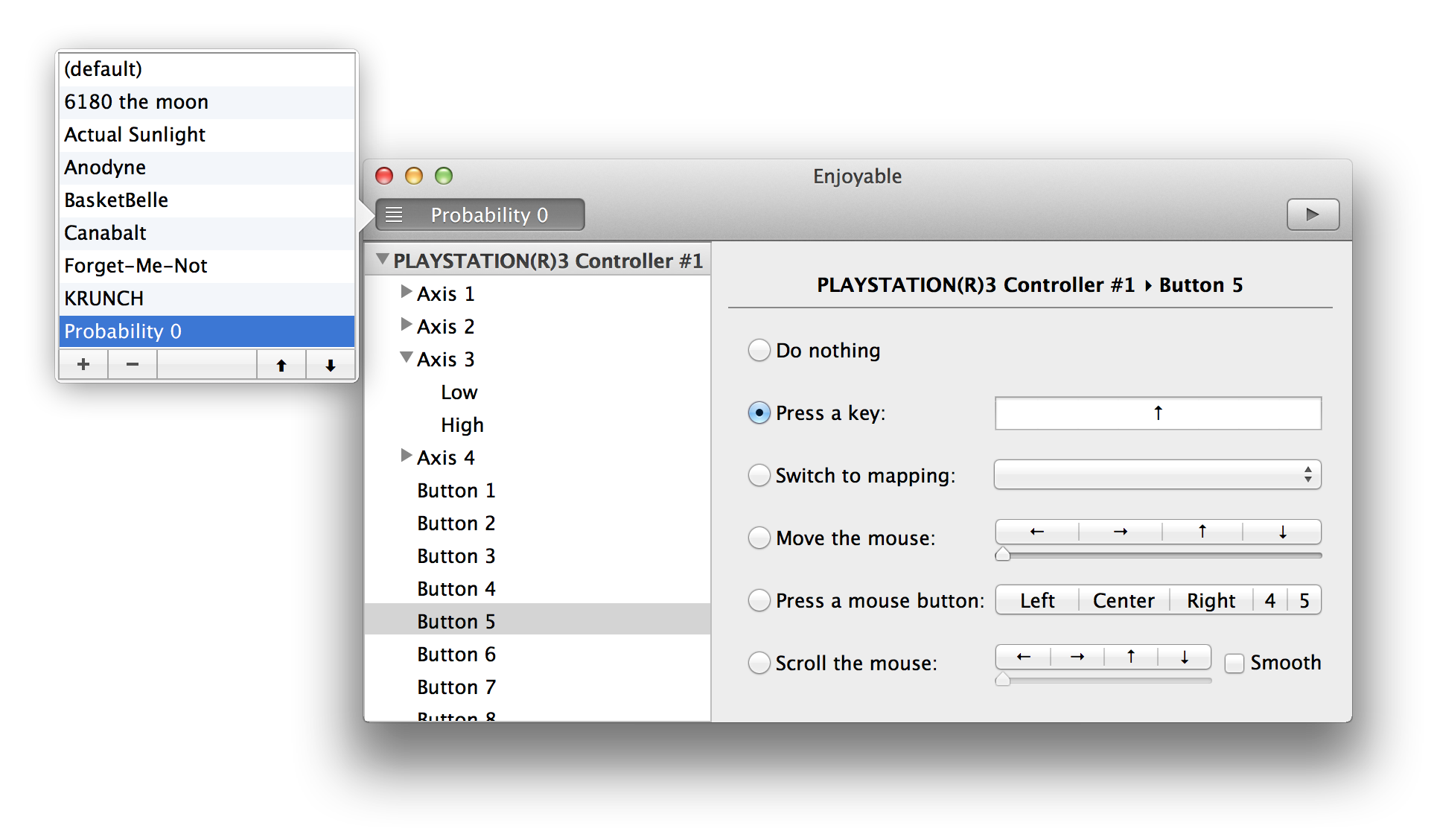 Enjoyable - Joystick and gamepad mapping for Mac OS X